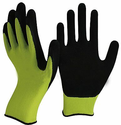 Green & Black Latex Gardening Gloves-Gardeners, Work, DIY -Super Soft Foam Latex