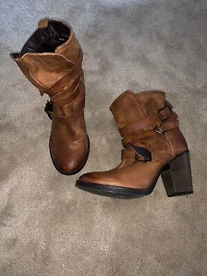 97f9f0d886f STEVE MADDEN YALE 8 M women brown ankle boot buckle belted leather ...