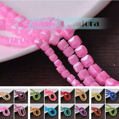 Wholesale 4/6/8mm Czech Glass Cube Faceted Loose Spacer Beads Jewelry Findings