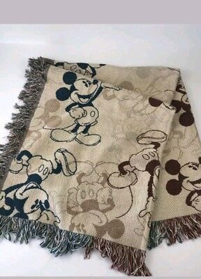 Disney Parks Mickey Mouse Tapestry Woven Throw Cozy Blanket 45x60 NEW