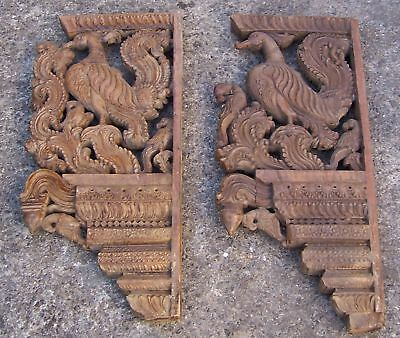 Two Antique Thai Temple (or similar) Carved Corbels/Brackets - Birds, 62cm 24.5""