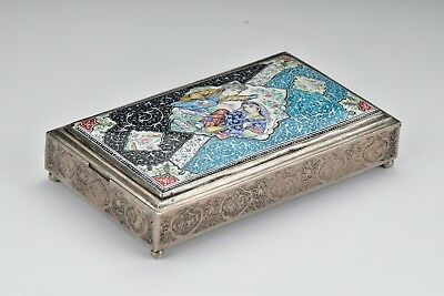 Signed Ottoman Period Islamic Solid  Silver Box w/ Enamel On Copper Inlay Lid