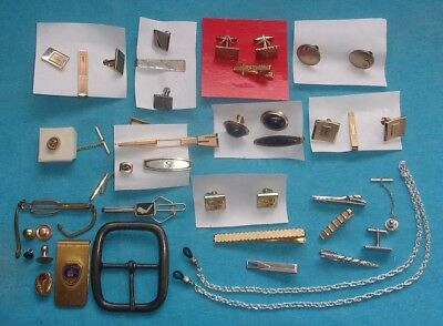 Big Lot of MENS TIE CLASPS CUFFLINKS & OTHER ACCESSARIES Some Antique