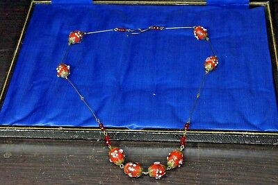 vintage art deco style wedding cake red glass bead necklace