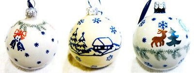 "Boleslawiec Polish Pottery Christmas Holiday  Ornament  BALL 4"" New"