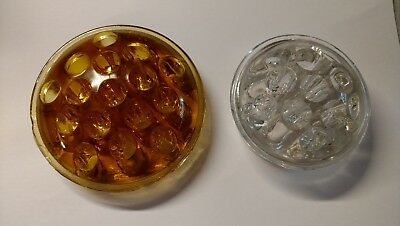"Lot 2 Vintage Antique? Glass Flower Frogs 4"" Yellow 3"" Clear 16 & 11 hole amber"