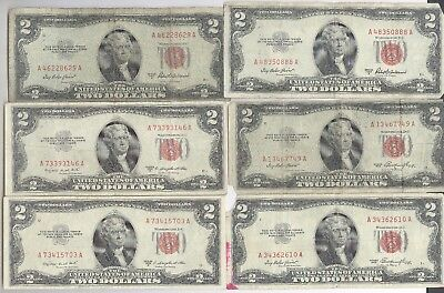 Lot of 6 (SIX) - $2.00 Red Seal United States Notes + 1953 + No Reserve!