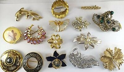 15 pieces Vintage job lot gold silver tone metal brooch pin