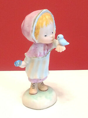Hallmark Betsey Clark Little Gallery Figurine 1979 Porcelain Waif Girl Bluebird