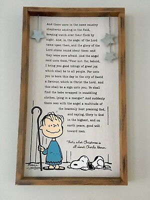 Hallmark 2018 Peanuts LINUS SPEECH  Meaning Of Christmas Plaque Sign SOLD OUT
