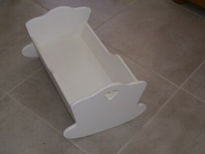 Timber (MDF) Rocking Doll Cradle Freshly Painted White