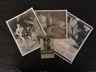 Lot of 4 Vintage Items TARZAN 8x10 Glossy B/W JOHNNY WEISSMULLER 1930's-1940's