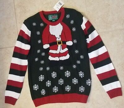 New Ugly Christmas Sweater Boys Girls Evergreen Santa Body Kids M L XL