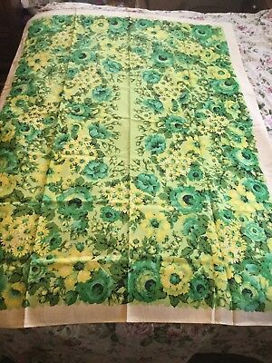 Vtg LEACOCK Belgian Linen Tablecloth NWT 52 X 70 Floral Yellow Blue Aqua Nice!