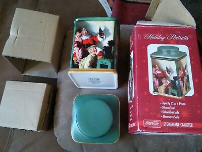 Coca Cola Stoneware Canister W/Box  Holiday Portraits - Green- 2002