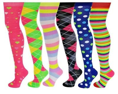 6 Pairs Knee High Socks Bright Colorful Trendy Over The Knee Assorted Classic