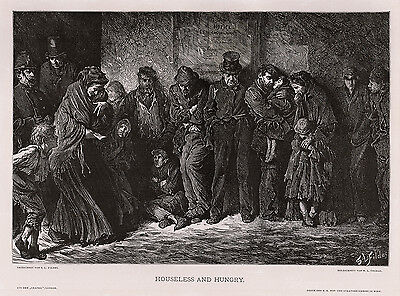 "Emotional 1800s SAMUEL LUKE FILDES Woodcut ""Homeless & Hungry"" Framed Signed COA"