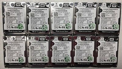 """Lot of 10 Western Digital Black 160GB 2.5"""" HDD 7200RPM SATA Tested and Working"""