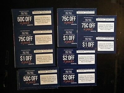 10 Pall Mall Cigarette Coupons, Expire 12/31/18 or later