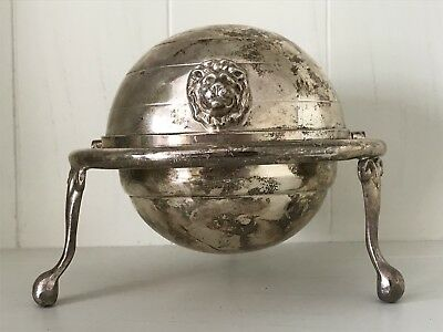 Williams Adams England SILVER PLATE LION HEAD FOOTED ROUND BUTTER CAVIAR DISH