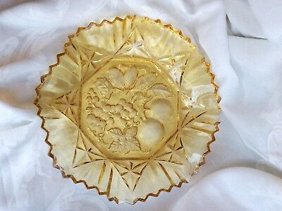 """Antique Amber Glass Bowl Sawtooth Serrated 8 sided, 11"""" , Fruit Rare Vintage Old"""