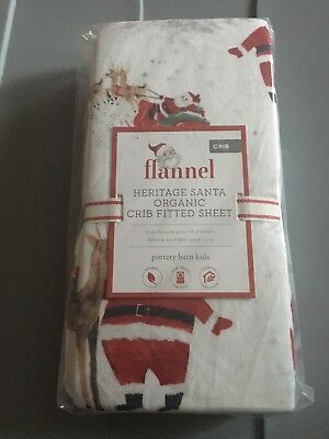 Pottery Barn Kids Heritage Santa Organic Flannel Crib Fitted Sheet