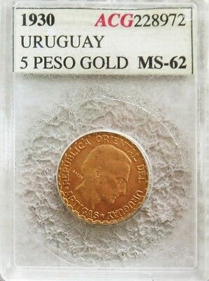 1930 Gold Uruguay 5 Pesos Constitution Centennial Coin Mint State Condition