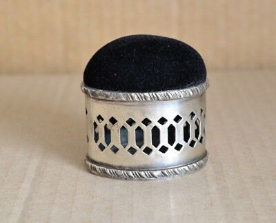 Nice Vintage Unmarked Silver Ornate Pin Cushion