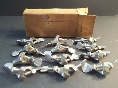 12 FISHER  CASTALOY  CLAMP  HOLDERS in box # 5-754 NEW  OLD  STOCK