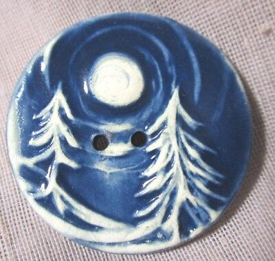 HANDMADE XLG BLUE STONEWARE BUTTON PINE TREES UNDER FULL MOON 1-1/2 in  NICE!