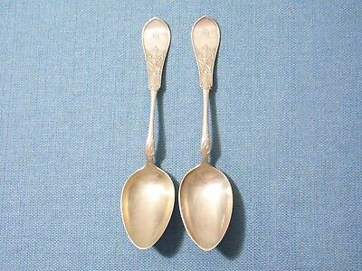 "AMERICAN COIN SILVER ~ (2) SPOONS in ""GEM"" (1874) by SCHULZ & FISCHER ~ S.F. CAL"