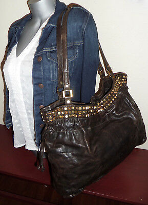 TORY BURCH Large LINDEN Drawstring STUDDED Studs Distressed BROWN Leather