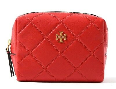 799462a360a Tory Burch Georgia Small Makeup Bag LIBERTY RED 40101 Brand New Authentic