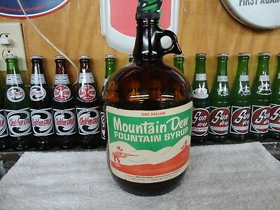 Mountain Dew Soda Fountain Syrup Paper Label 1 Gallon Jug Amber Glass Hillbilly
