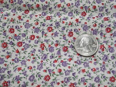 Vintage cloth feed sack tiny floral print - quilt or craft project fabric