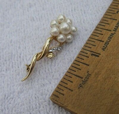 Nice 14K Yellow Gold & PEARL CLUSTER FLOWER PIN-1.5 Inch Long-Signed IWI-NR