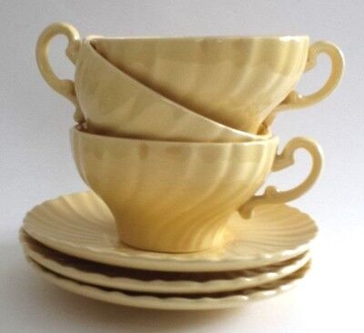 Vtg 1940s Glossy Yellow Swirl GMB Fransican Coronado 3 Cups & 3 Saucers