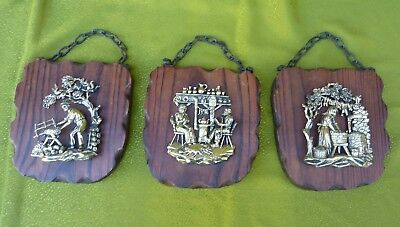 Vtg Set of 3 W German Timber Slice Wall 3 D Plaque Wall Hanging Farmhouse Décor