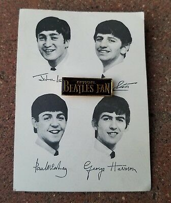Vintage 60's Beatles Fan Club Pin Button Pinback Lapel Pin w Backing Card