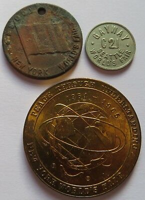 1965 NY World's Fair Medal, NY Souvenir Token + Seattle World's Fair Coin(071949