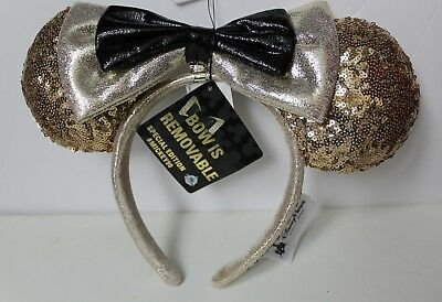 Disney Parks 90th Anniversary Mickey Ears Gold Sequin Headband Removable Bow NEW
