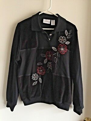 Alfred Dunner Black/White/Red Floral & Embroidery, Collar/Cuffs, LS Top Size M