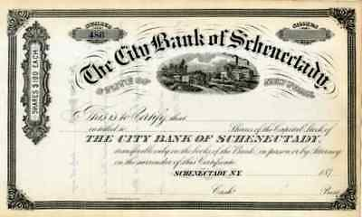 187_ City Bank of Schenectady Stock Certificate