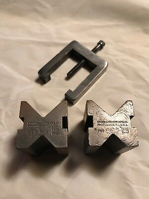 Vintage Brown & Sharpe Mfg Co 749 V Block Pair With Clamp