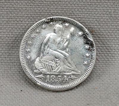 ABUSED 1854 WITH ARROWS SEATED LIBERTY QUARTER DOLLAR! No Reserve!