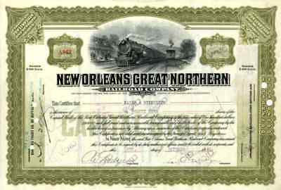 1926 New Orleans Great Northern RR Stock Certificate