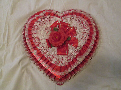 Vintage Red Valentine Heart Candy Chocolate Box Red Satin Lace Ephemera