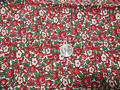Vintage cloth feed sack fruit floral print - quilt or craft project fabric