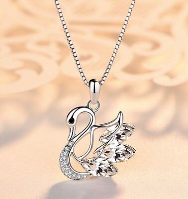 Swan Crystal Pendant 925 Sterling Silver Chain Necklace Womens Jewellery Gift UK