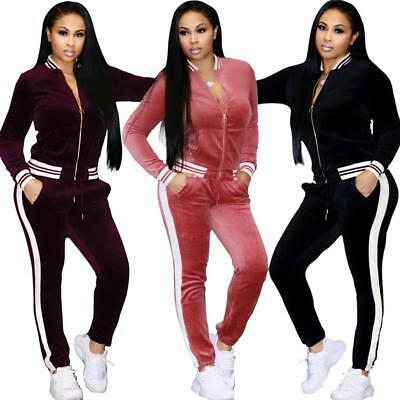 2Pcs Womens Velvet Sportwear Suit Set Tracksuit Sweatshirt Jackets Pants Trouser